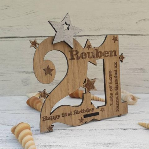 Personalised Twenty First 21st Birthday Celebration Card Oak Wooden Keepsake Gift